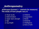 Engineering anthropometry, percentile calculations, use of data