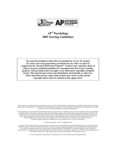 2003 AP Psychology Scoring Guidelines - AP Central