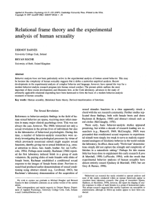 Relational frame theory and the experimental analysis of human