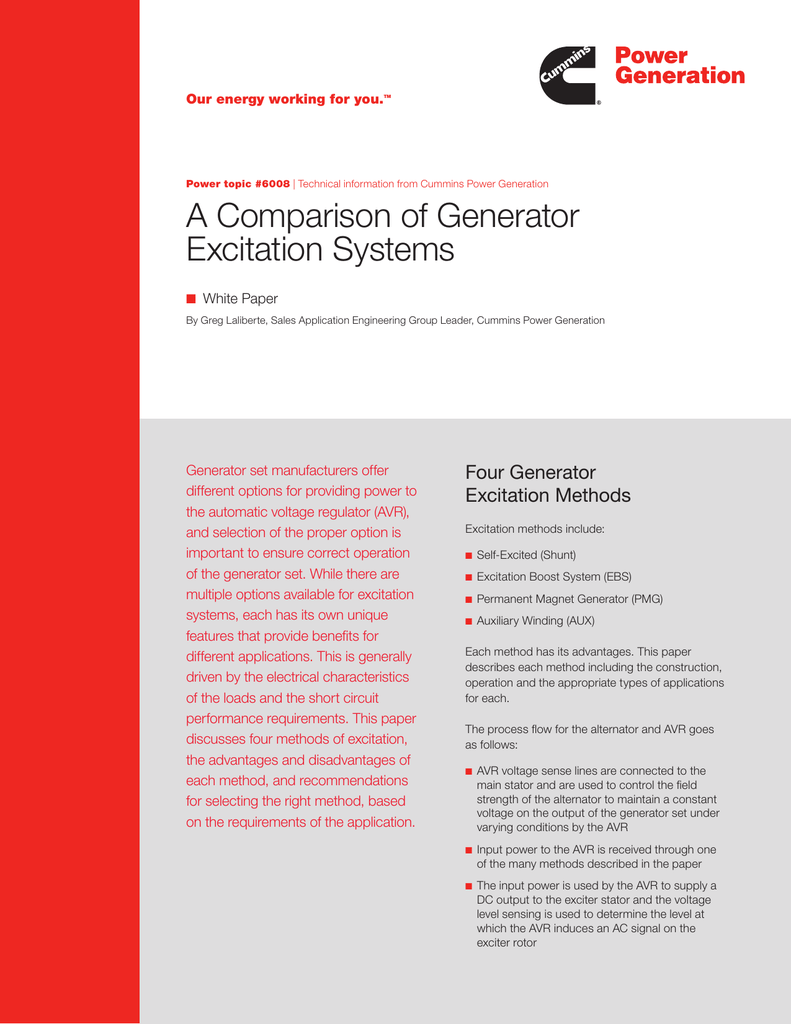 A Comparison of Generator Excitation Systems