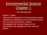 Environmental Science Chapter 1 An Introduction