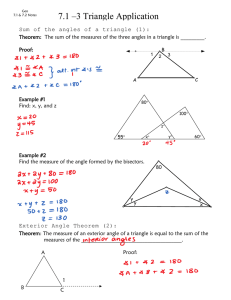 7.1 –3 Triangle Application Theorems