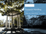 Lecture 21: Exception Handling