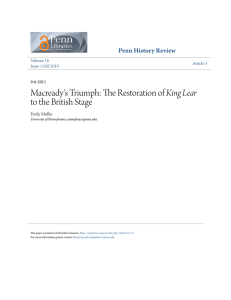Macready`s Triumph: The Restoration of King Lear to the British Stage