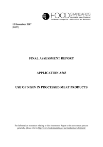 application a565 – nisin use in processed meat products