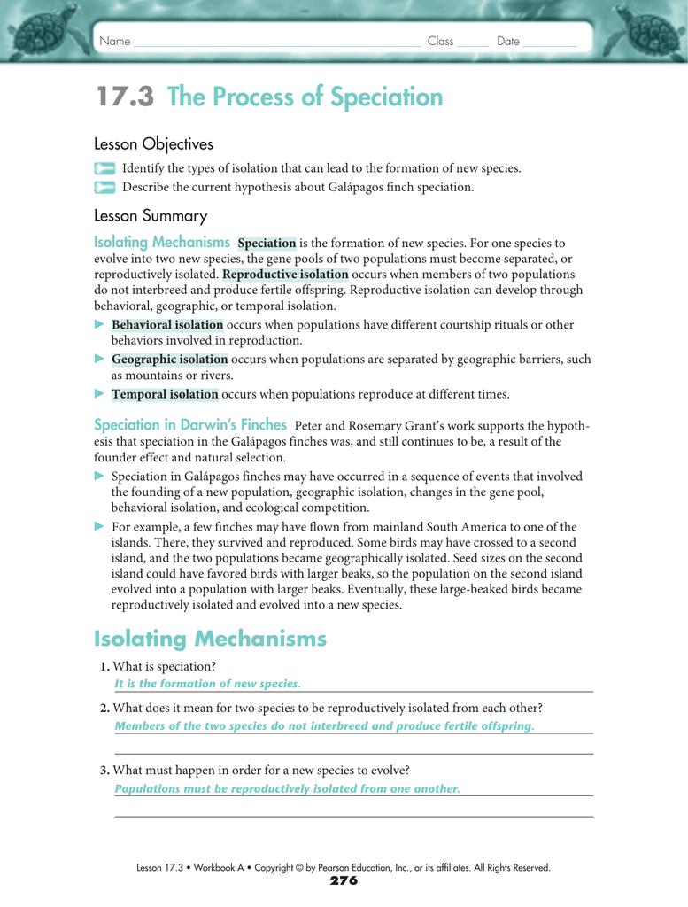 Worksheets Speciation Worksheet 17 3 the process of speciation