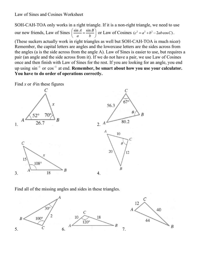 Non-Right Triangle Trig Worksheet Regarding Right Triangle Trig Worksheet