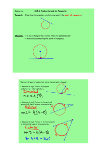 Geometry §14.6 Angles formed by Tangents: Tangent: A line that
