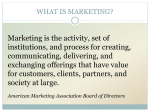 Marketing is the activity, set of institutions, and process for creating