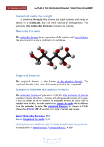 LACTUER 3 THE MOLECULAR FORMULA / ANALYTICAL