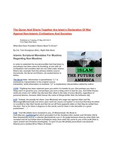 The Quran And Sharia Together Are Islam`s Declaration Of War