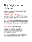 The Hebrew People in Canaan