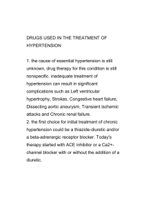 DRUGS USED IN THE TREATMENT OF HYPERTENSION