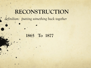 RECONSTRUCTION definition: putting something back together