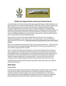 Wilderness Opportunities on the Inyo National Forest