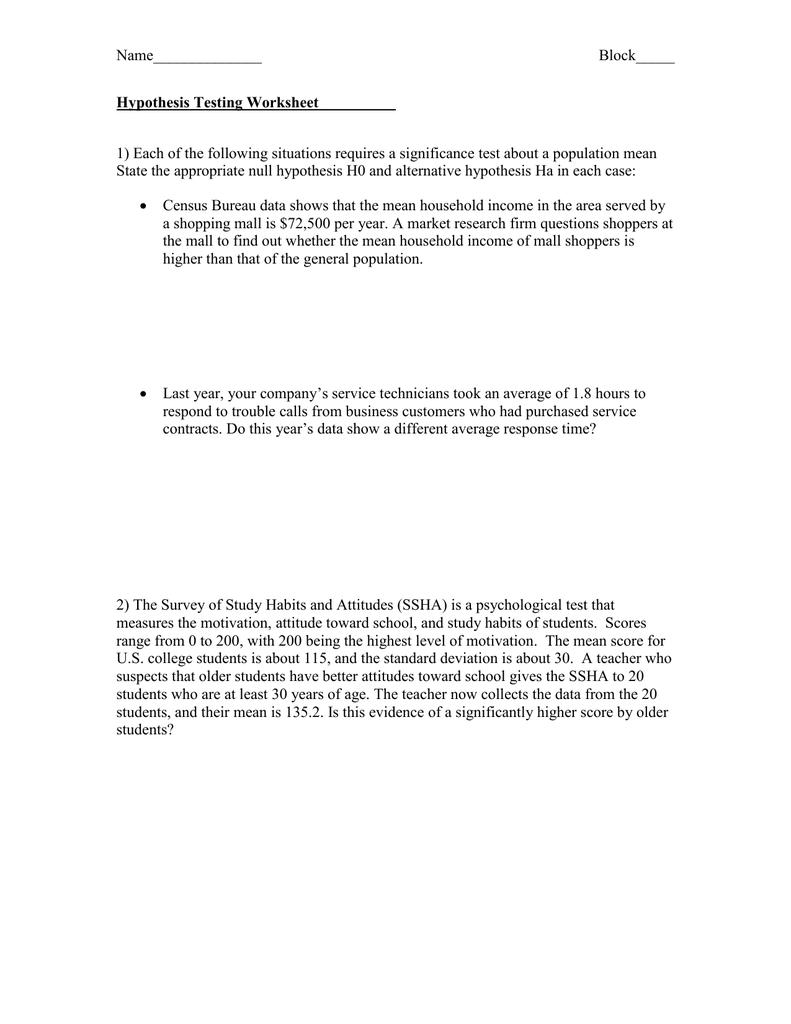 Hypothesis Testing Worksheet