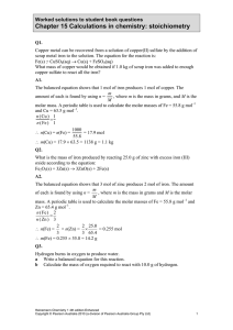 Chapter 15 Calculations in chemistry: stoichiometry