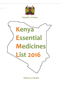 Kenya Essential Medicines List 2016