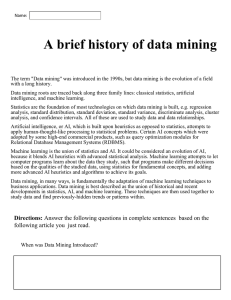A brief history of data mining - Mr. Stives Classroom Web Page