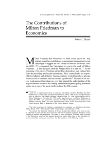 The Contributions of Milton Friedman to Economics