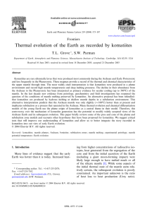 Thermal evolution of the Earth as recorded by komatiites