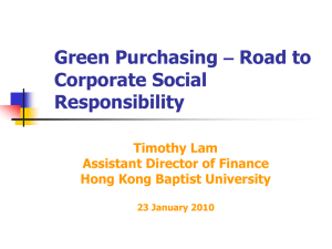 Green Purchasing - The Council of Hong Kong Professional