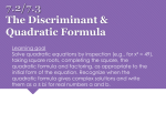 7.2 and 7.3 Quadratic Formula and Discriminant Printable
