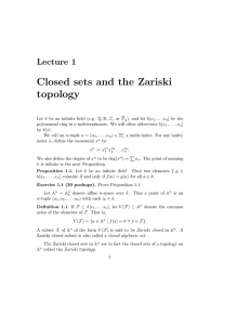 Closed sets and the Zariski topology