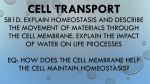 Cell TRANSPORT standard: eq: how does the cell membrane help