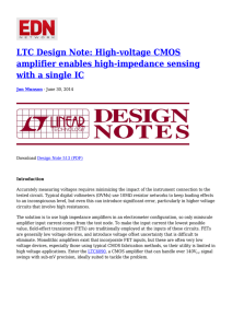 LTC Design Note: High-voltage CMOS amplifier enables high