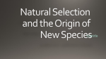 Natural Selection and the Origin of new species