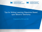Tips for Writing Learning Objectives Based upon Bloom`s