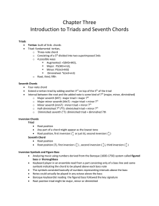 Tonal Harmony Chapter 3 Introduction to Triads and Seventh