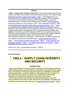 1083.4 SUPPLY CHAIN INTEGRITY AND SECURITY