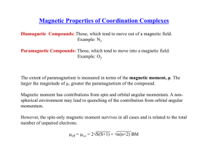 Magnetic Properties of Coordination Complexes √ √ μ