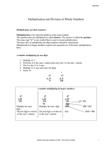 Multiplication and Division of Whole Numbers