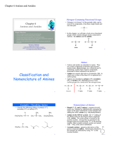 Classification and Nomenclature of Amines
