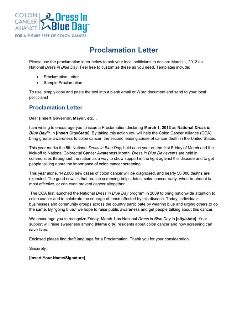 Proclamation Letter Colon Cancer Alliance