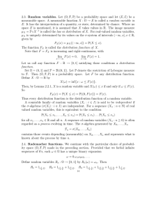 2.3. Random variables. Let (Ω, F, P) be a probability space and let (E