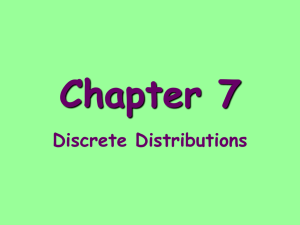Chapter 7 Discrete Distributions Random Variable