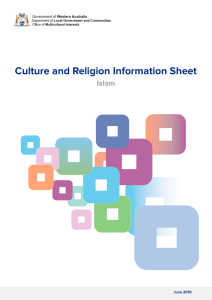 Culture and Religion Information Sheet - Islam