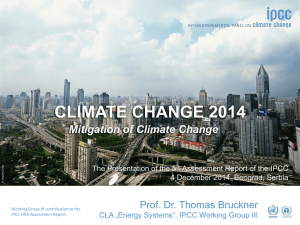 CLIMATE CHANGE 2014 Mitigation of Climate Change
