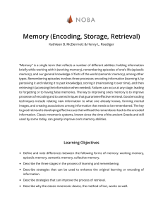 NOBA Memory (Encoding, Storage, Retrieval)