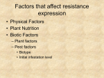 Factors that affect resistance expression