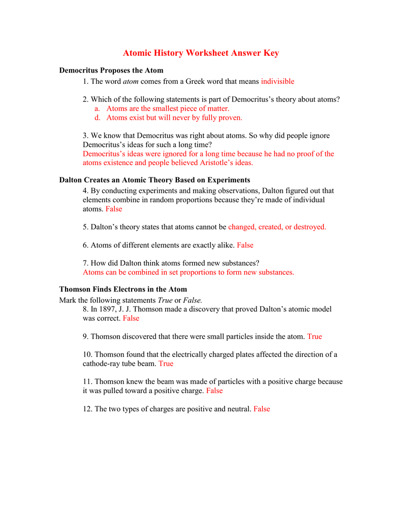 Answer Key of worksheet (History of an Atom)