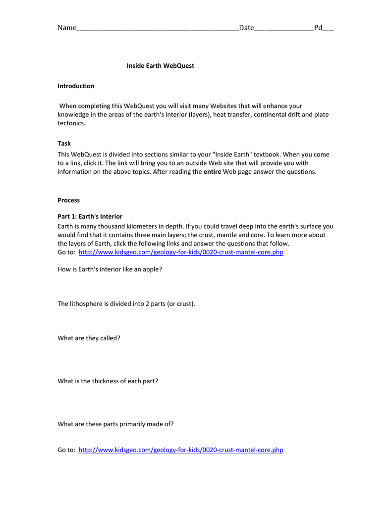 Geologic Time Webquest Worksheet Answers ...