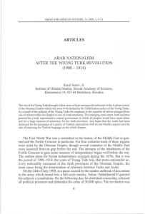 ARTICLES ARAB NATIONALISM AFTER THE YOUNG TURK