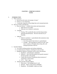CHAPTER 1 – FORENSIC SCIENCE NOTES INTRODUCTION What