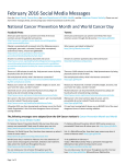 National Cancer Prevention Month and World Cancer Day