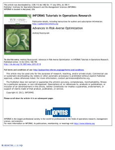 INFORMS Tutorials in Operations Research Advances in Risk